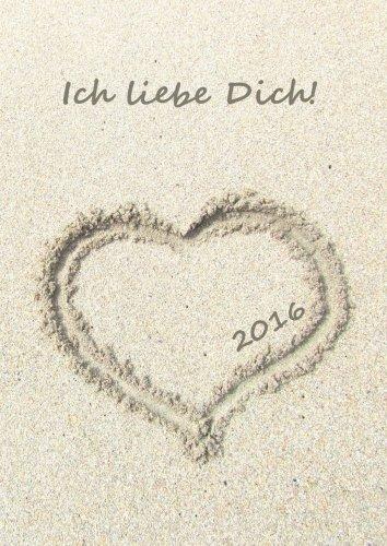 9781517081232: dicker Tagebuch Kalender 2016 - HERZ IM SAND: DIN A4 - 1 Tag pro Seite