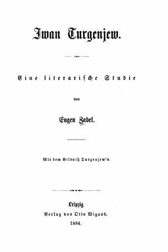 9781517158712: Iwan Turgenjew eine literarische Studie (German Edition)