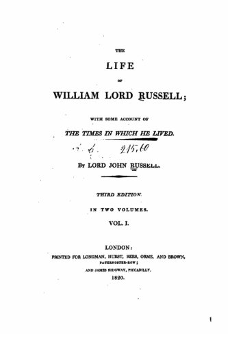 The Life of William, Lord Russell -: Russell, Lord John