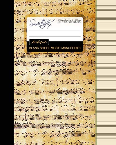 9781519108708: Blank Sheet Music: Music Manuscript Paper / Staff Paper / Musicians Notebook [ Book Bound (Perfect Binding) * 12 Stave * 100 pages * Large * Antique ] (Composition Books - Music Manuscript Paper)