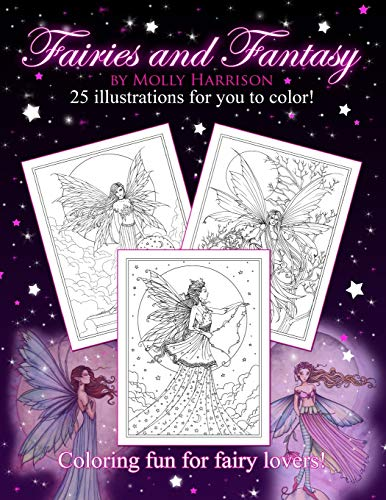 9781519426437: Fairies and Fantasy by Molly Harrison: Coloring for Adults and Older Fairy Lovers!