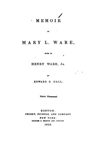9781519595416: Memoir of Mary L. Ware, wife of Henry Ware, Jr.