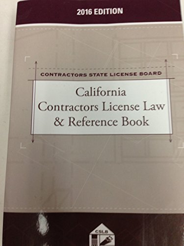 9781522104292: California Contractors License Law & Reference Book, 2016 Edition