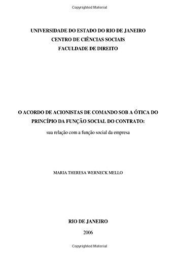 9781522738619: O Acordo de Acionistas de Comando sob a Ótica do Princípio da Função Social do Contrato: sua relação com a função social da empresa (Portuguese Edition)
