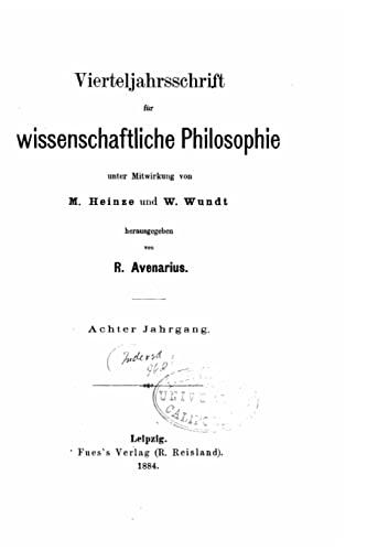 9781523362424: Vierteljahrsschrift für wissenschaftliche philosophie