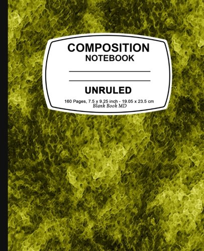 9781523430352: Unruled composition notebook: Yellow Marble, Unruled Composition Notebook, 7.5 x 9.25, 160 Pages For for School / Teacher / Office / Student Composition Book