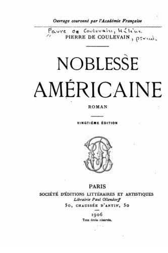 9781523439874: Noblesse américaine, roman (French Edition)