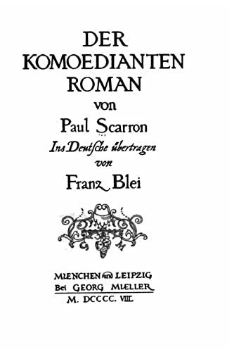 9781523452873: Der komoedianten Roman (German Edition)