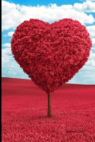 9781523618248: Journal Daily: Red Heart Tree and Blue Sky, Lined Blank Journal Book, 6 x 9, 200 Pages,valentines day gifts for her him