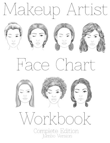9781523795727: Makeup Artist Face Chart Workbook: Complete Edition Jumbo Version