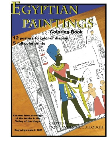 9781523830602: Egyptian Paintings Coloring Book: 16 Posters to color or display. 5 full color pictures.
