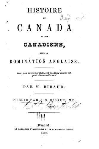 9781523849628: Histoire du Canada et des canadiens sous la domination anglaise