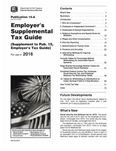 9781530014729: Publication 15-A (2016), Employer's Supplemental Tax Guide: (Supplement to Pub. 15, Employer's Tax Guide)