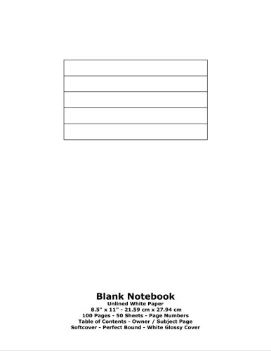 9781530112340: Blank Notebook: Unlined White Paper - 8.5