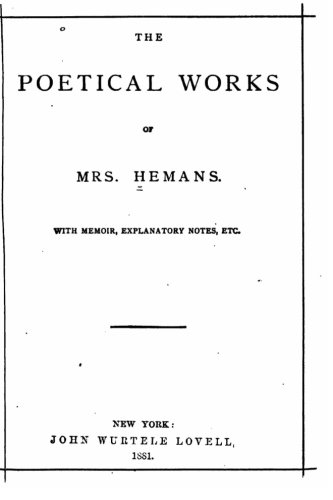 9781530237302: The Poetical Works of Mrs Hemans