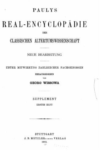 9781530555550: Paulys Real-encyclop{uml}adie der classischen Altertumswissenschaft