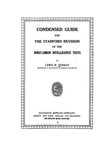 9781530637669: Condensed guide for the Stanford revision of the Binet-Simon intelligence tests