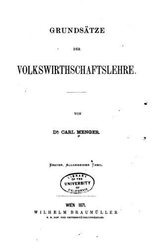 9781530776603: Grundsätze der Volkswirthschaftslehre (German Edition)