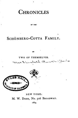 9781530857326: Chronicles of the Schönberg-Cotta family