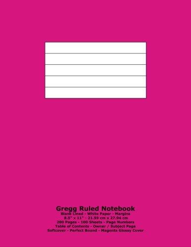 9781530950621: Gregg Ruled Notebook: Blank Lined - White Paper - 8.5