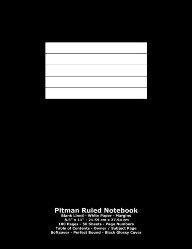 9781530954285: Pitman Ruled Notebook: Blank Lined - White Paper - 8.5