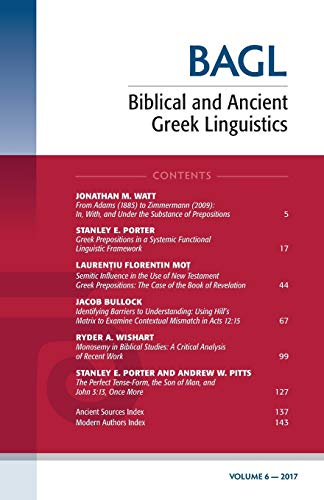 6: Biblical and Ancient Greek Linguistics: Pickwick Pubns