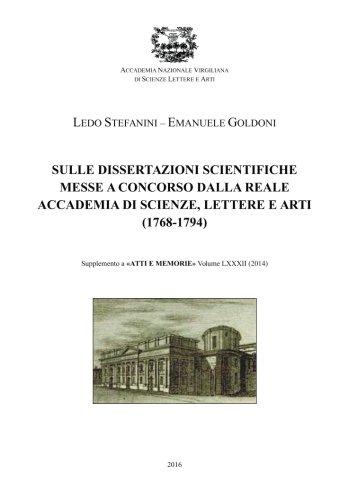 Dissertazioni Scientifiche Dalla Reale Accademia Di Scienze,: Stefanini, Ledo