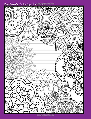 9781532897931: Coloring Notebook (purple): Therapeutic notebook for writing, journaling, and note-taking with designs for inner peace, calm, and focus (100 pages, ... and stress-relief while writing.) (Volume 1)