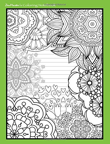 9781533102874: Coloring Notebook (green): Therapeutic notebook for writing, journaling, and note-taking with designs for inner peace, calm, and focus (100 pages, ... and stress-relief while writing.) (Volume 4)