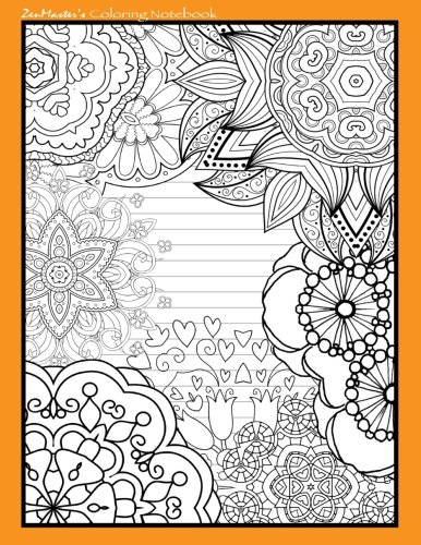 9781533108692: Coloring Notebook (orange): Therapeutic notebook for writing, journaling, and note-taking with designs for inner peace, calm, and focus (100 pages, ... and stress-relief while writing.) (Volume 6)