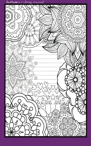 9781533119827: Coloring Journal (purple): Therapeutic journal for writing, journaling, and note-taking with coloring designs for inner peace, calm, and focus (100 ... and stress-relief while writing.) (Volume 9)