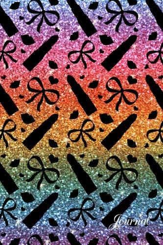 9781533120526: Journal: Faux rainbow glitter lipstick notebook
