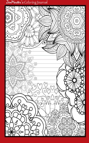 9781533121196: Coloring Journal (red): Therapeutic journal for writing, journaling, and note-taking with coloring designs for inner peace, calm, and focus (100 ... and stress-relief while writing.) (Volume 12)