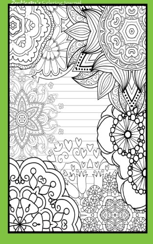 9781533121707: Coloring Journal (green): Therapeutic journal for writing, journaling, and note-taking with coloring designs for inner peace, calm, and focus (100 relaxation and stress-relief while writing.)