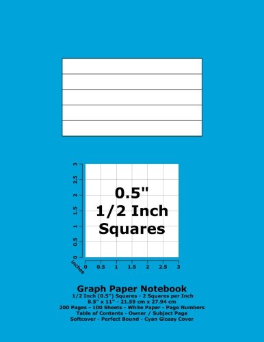 9781533169099: Graph Paper Notebook: 0.5 Inch (1/2