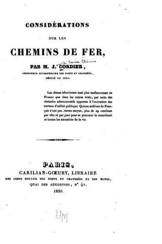 Consid?rations Sur Les Chemins de Fer - Cordier, M. J.