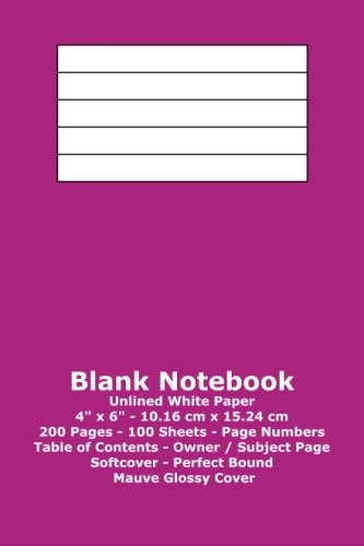 9781533371607: Blank Notebook: Unlined White Paper - 4