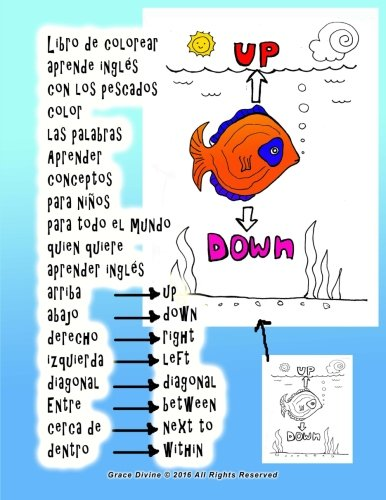 9781533463326: Libro de colorear aprende inglés con los pescados ...
