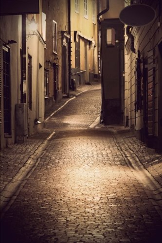 9781533470959: Narrow Road in Stockholm Sweden at Night Journal: 150 page lined notebook/diary