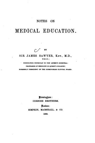 Notes on Medical Education: James Sawyer