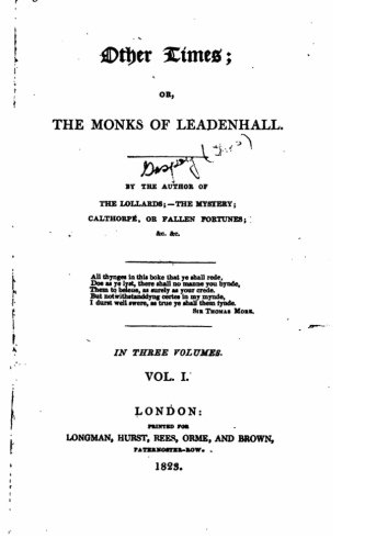 9781534659247: Other Times, Or, the Monks of Leadenhall, Or, the Monks of Leadenhall