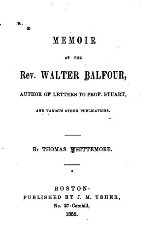 9781534958838: Memoir of the Rev. Walter Balfour