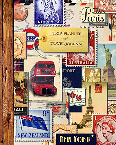 """9781534998193: Trip Planner & Travel Journal: Vacation Planner & Diary for 4 Trips, with Checklists, Itinerary & more [ Softback Notebook * Large (8"""" x 10"""") * Vintage Collage ] (Travel Gifts)"""