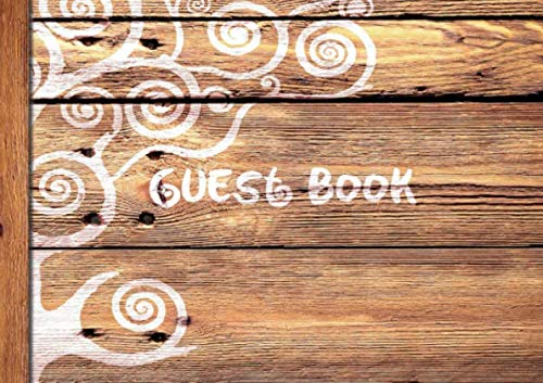 "9781535161916: Guest Book: Visitors Book / Guestbook ( Wooden / Rustic design * Softback * 8.5"" x 6"" ) (Sign in Books for Weddings, Birthday, Funerals & Hospitality)"