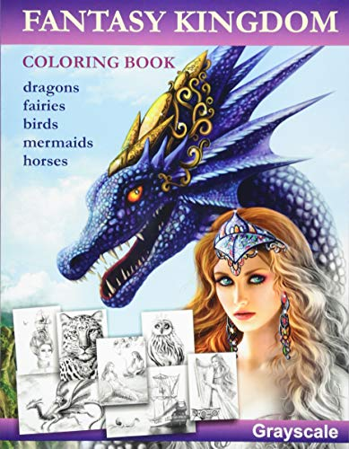 9781535185950: Fantasy Kingdom. Grayscale Adult coloring book
