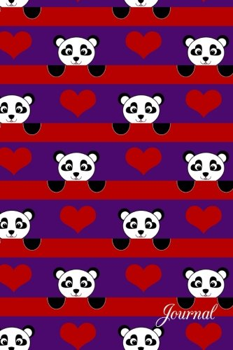 9781535243575: Journal: Purple red hearts stripes panda notebook