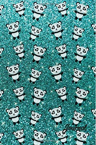 9781535356879: Journal: Faux turquoise glitter panda notebook