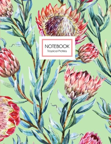 9781535456289: Tropical Protea Notebook: An Exotic Flower Notebook in Patina Light Green Floral