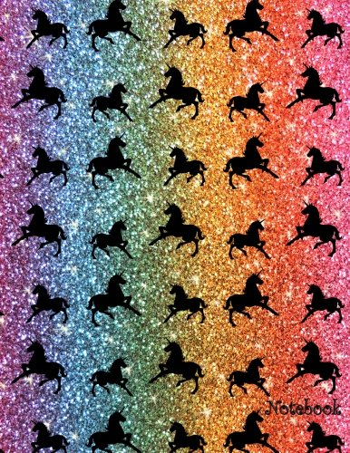 9781535468978: Notebook: Large 8.5 by 11 faux rainbow glitter unicorn notebook