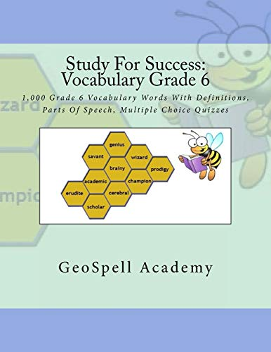 9781536848632: Study For Success: Vocabulary Grade 6: 1,000 Grade 6 Vocabulary Words With Definitions, Parts Of Speech, Multiple Choice Quizzes